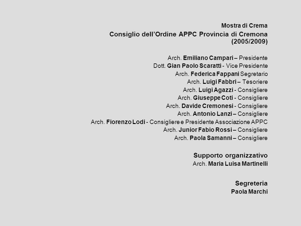 Mostra di Crema Consiglio dellOrdine APPC Provincia di Cremona (2005/2009) Arch. Emiliano Campari – Presidente Dott. Gian Paolo Scaratti - Vice Presid