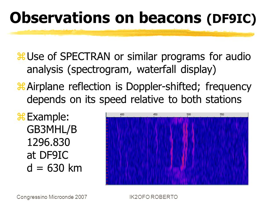 Congressino Microonde 2007IK2OFO ROBERTO Observations on beacons (DF9IC) zUse of SPECTRAN or similar programs for audio analysis (spectrogram, waterfa