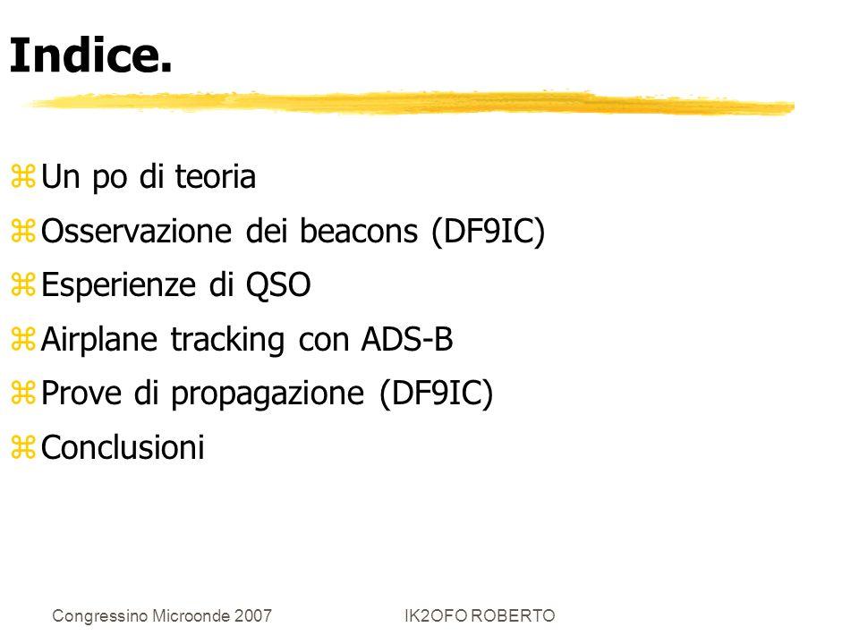 Congressino Microonde 2007IK2OFO ROBERTO Indice. zUn po di teoria zOsservazione dei beacons (DF9IC) zEsperienze di QSO zAirplane tracking con ADS-B zP