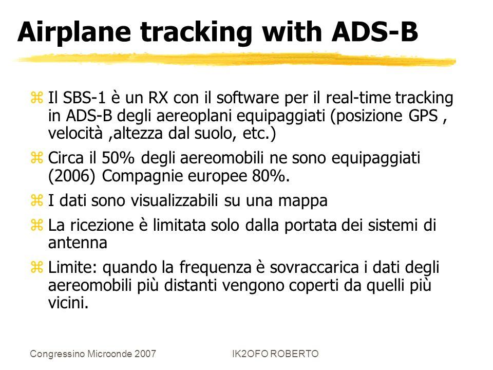 Congressino Microonde 2007IK2OFO ROBERTO Airplane tracking with ADS-B zIl SBS-1 è un RX con il software per il real-time tracking in ADS-B degli aereo