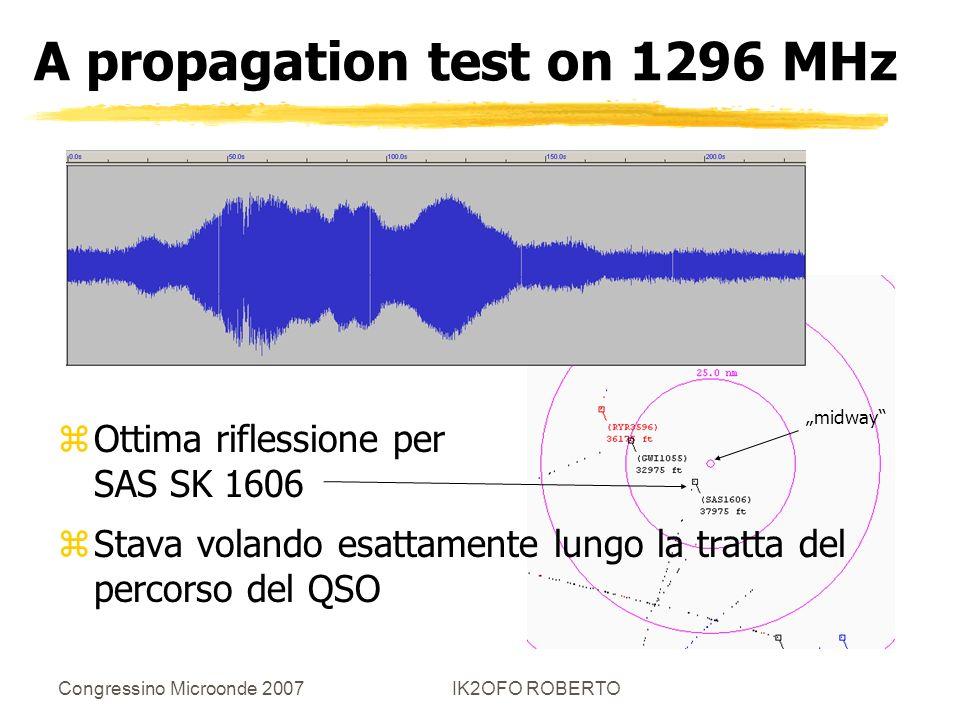 Congressino Microonde 2007IK2OFO ROBERTO A propagation test on 1296 MHz zOttima riflessione per SAS SK 1606 zStava volando esattamente lungo la tratta