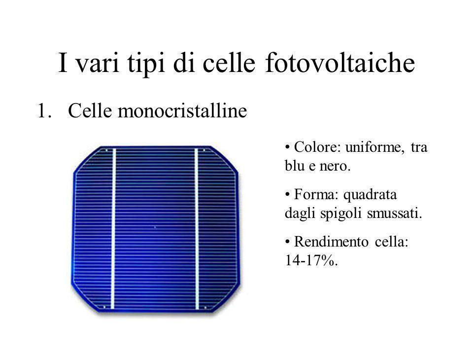 I vari tipi di celle fotovoltaiche 1.Celle monocristalline Colore: uniforme, tra blu e nero. Forma: quadrata dagli spigoli smussati. Rendimento cella: