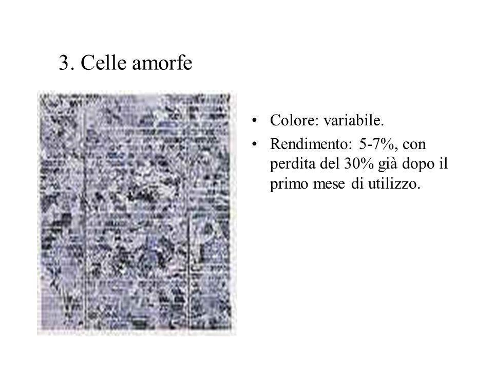 3. Celle amorfe Colore: variabile. Rendimento: 5-7%, con perdita del 30% già dopo il primo mese di utilizzo.