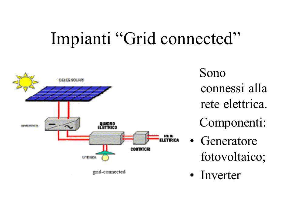 Impianti Grid connected Sono connessi alla rete elettrica. Componenti: Generatore fotovoltaico; Inverter