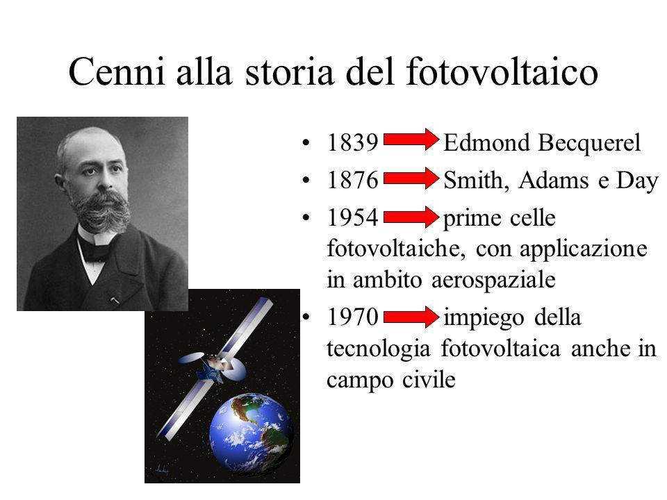 Cenni alla storia del fotovoltaico 1839 Edmond Becquerel 1876 Smith, Adams e Day 1954 prime celle fotovoltaiche, con applicazione in ambito aerospazia