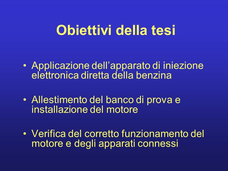 Obiettivi della tesi Applicazione dellapparato di iniezione elettronica diretta della benzina Allestimento del banco di prova e installazione del moto