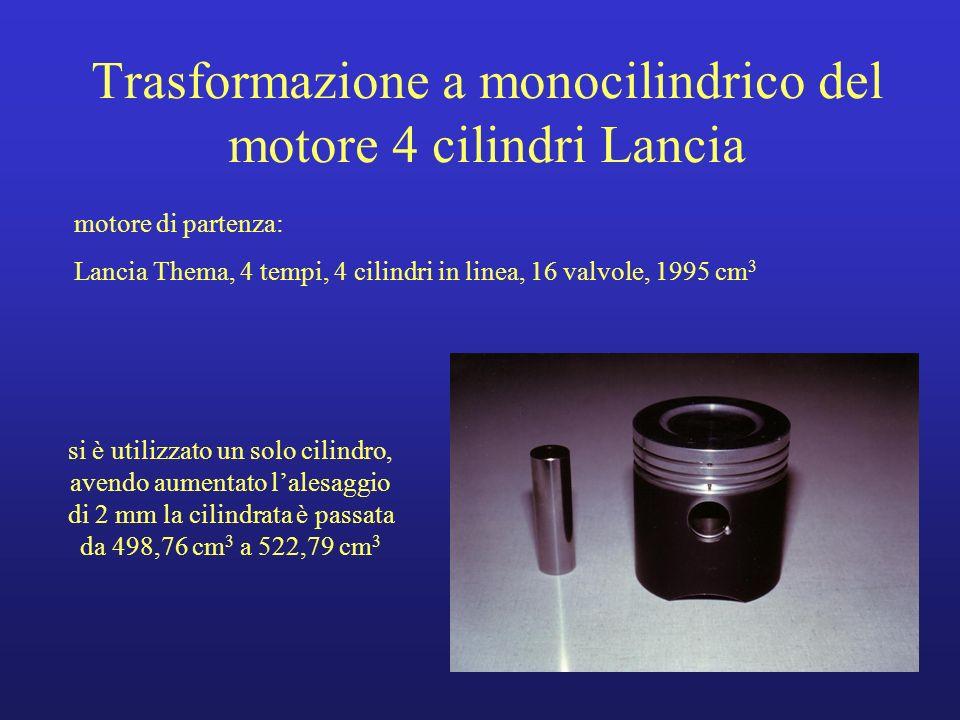 Trasformazione a monocilindrico del motore 4 cilindri Lancia motore di partenza: Lancia Thema, 4 tempi, 4 cilindri in linea, 16 valvole, 1995 cm 3 si
