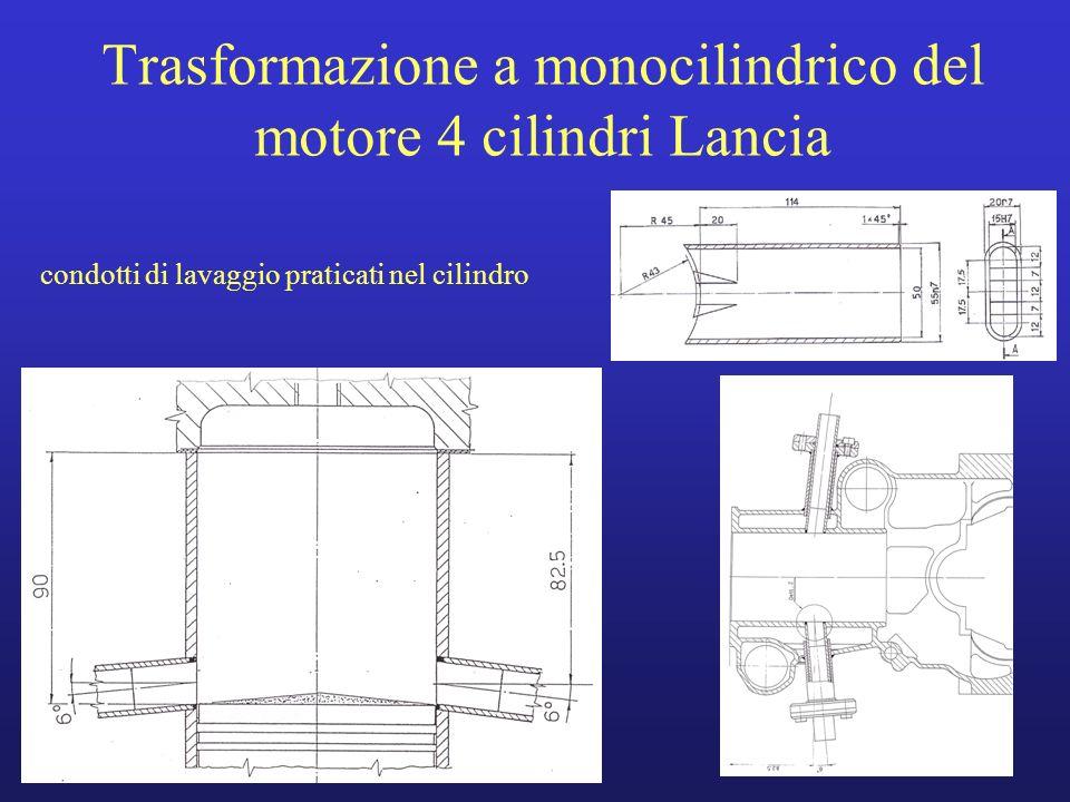 Trasformazione a monocilindrico del motore 4 cilindri Lancia condotti di lavaggio praticati nel cilindro