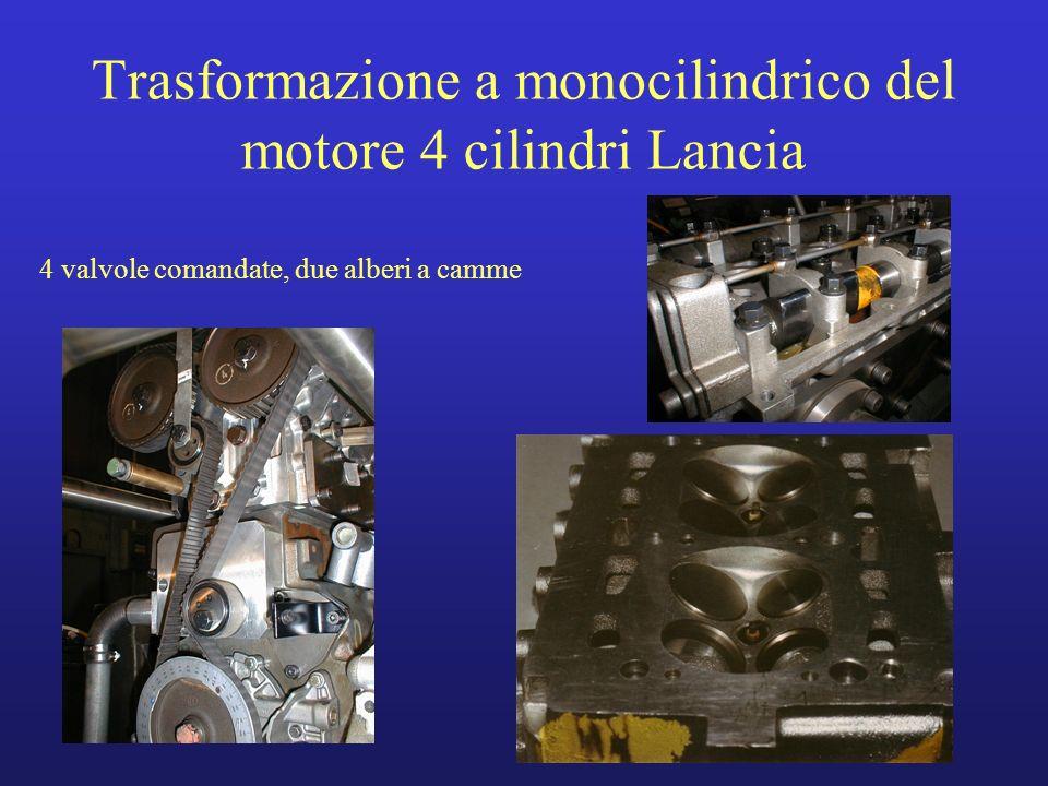 Trasformazione a monocilindrico del motore 4 cilindri Lancia 4 valvole comandate, due alberi a camme