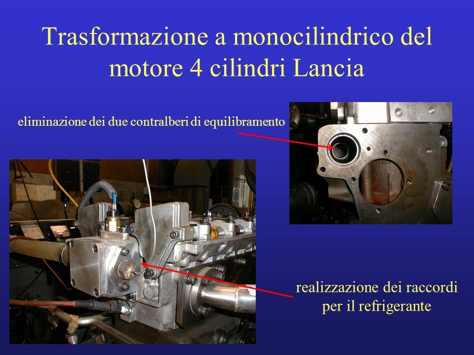 Trasformazione a monocilindrico del motore 4 cilindri Lancia eliminazione dei due contralberi di equilibramento realizzazione dei raccordi per il refr