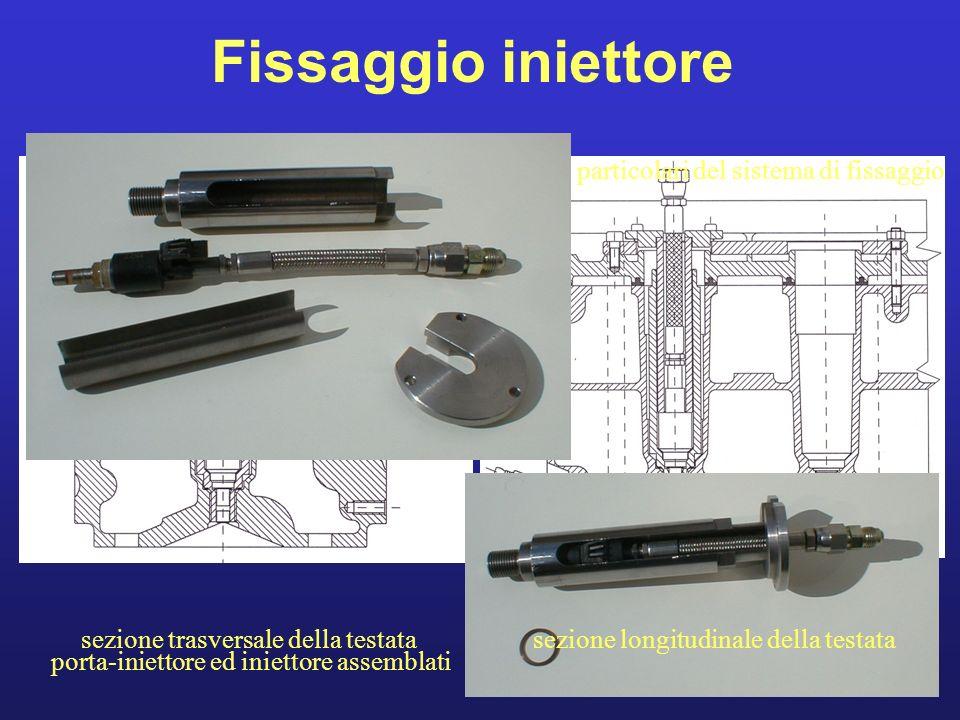 Fissaggio iniettore particolari del sistema di fissaggio porta-iniettore ed iniettore assemblati sezione longitudinale della testatasezione trasversal