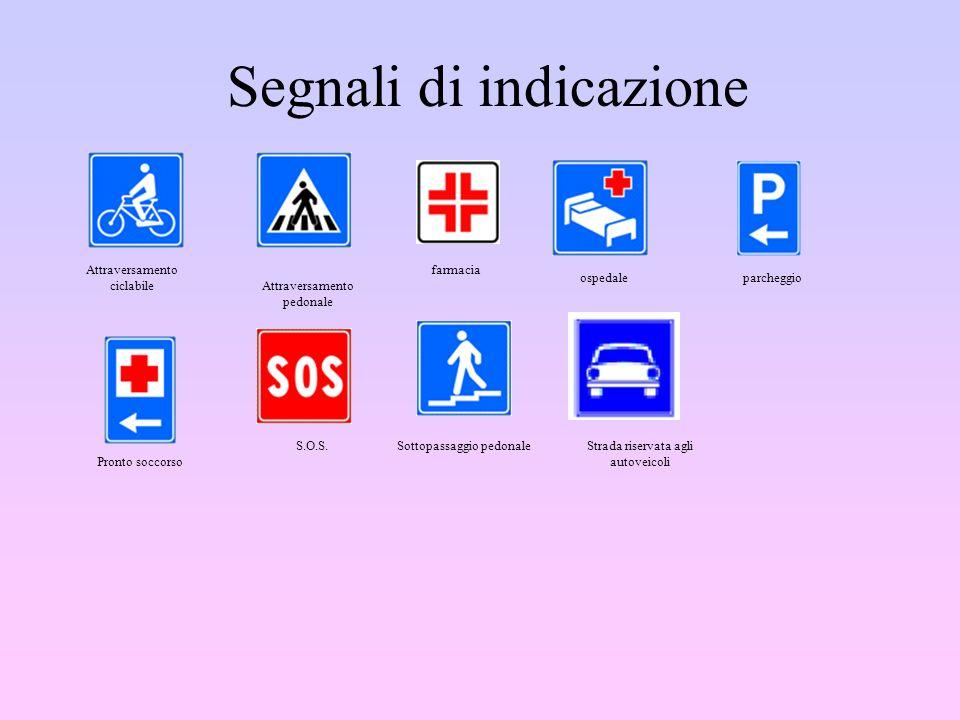 Segnali di indicazione Attraversamento ciclabile Attraversamento pedonale farmacia ospedaleparcheggio Pronto soccorso S.O.S.Sottopassaggio pedonaleStr
