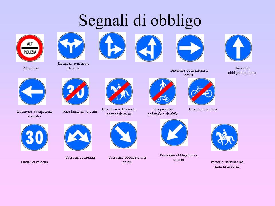 Segnali di obbligo Alt polizia Direzioni consentite Dx e Sx Direzione obbligatoria a destra Direzione obbligatoria dritto Direzione obbligatoria a sin
