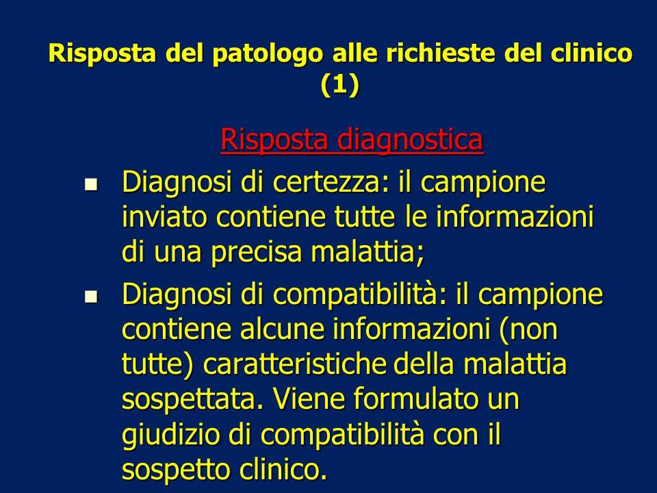 Risposta del patologo alle richieste del clinico (2) Risposta non diagnostica Risposta descrittiva: il campione inviato contiene alterazioni aspecifiche, che si possono riscontrare in varie patologie (es.