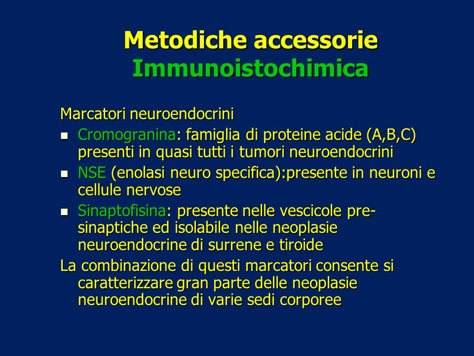 Metodiche accessorie Immunoistochimica Marcatori neuroendocrini Cromogranina: famiglia di proteine acide (A,B,C) presenti in quasi tutti i tumori neur