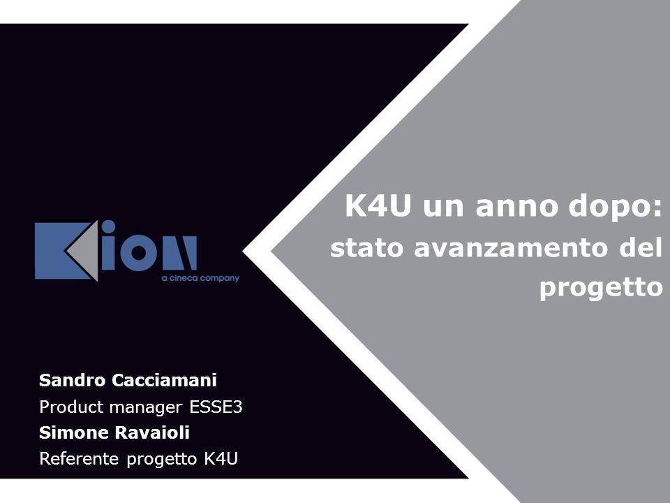 Bologna 21 Novembre 2007 K4U un anno dopo: stato avanzamento del progetto Sandro Cacciamani Product manager ESSE3 Simone Ravaioli Referente progetto K4U