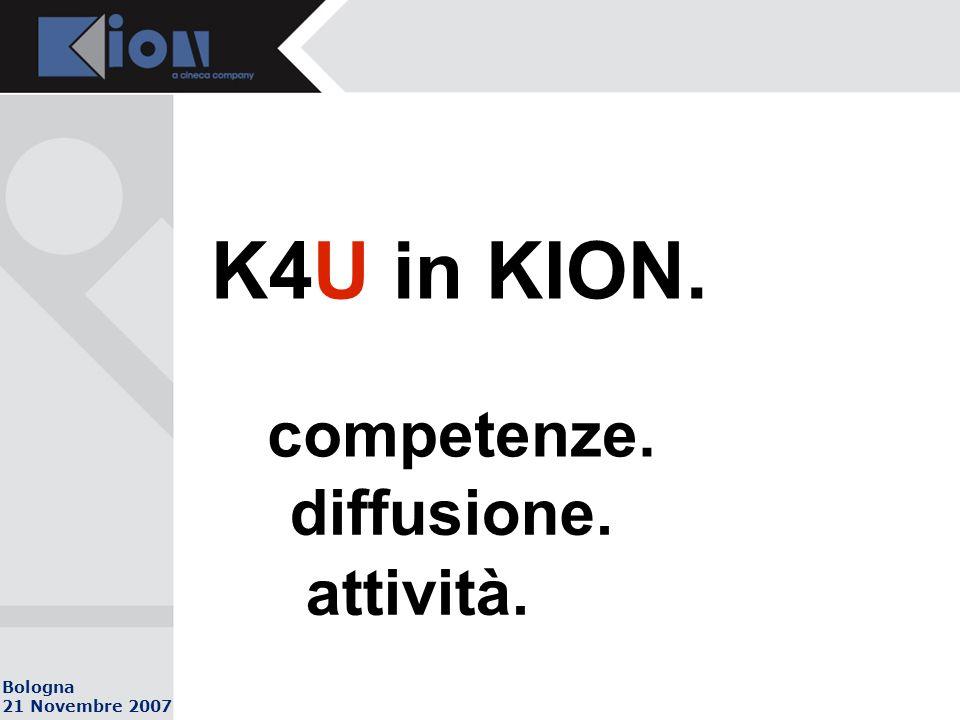 Bologna 21 Novembre 2007 K4U in KION. competenze. diffusione. attività.
