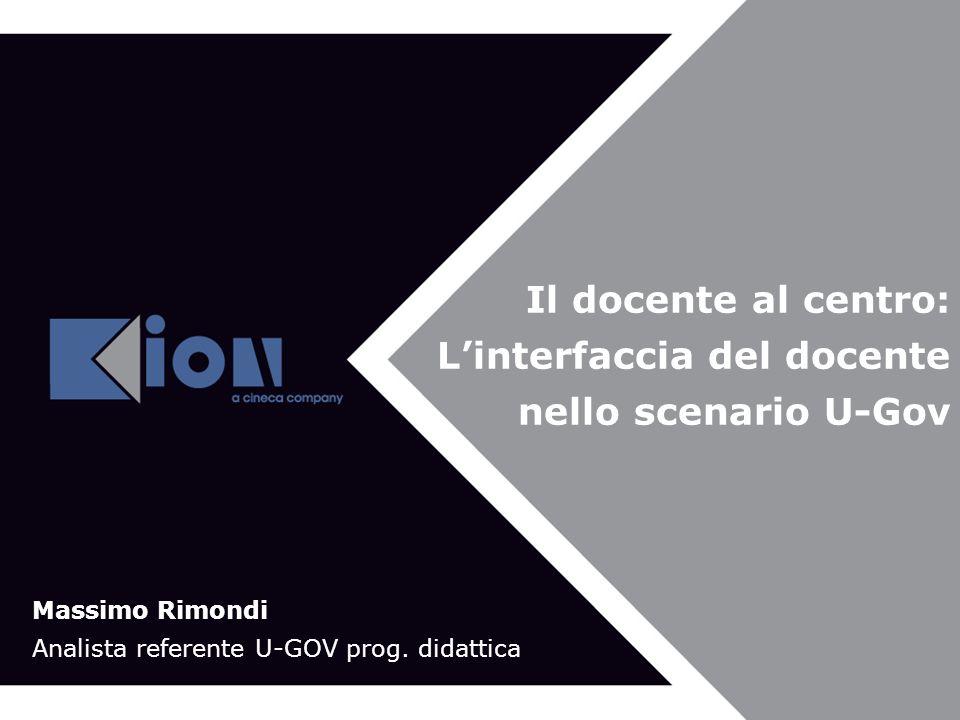 Bologna 21 Novembre 2007 Il docente al centro: Linterfaccia del docente nello scenario U-Gov Massimo Rimondi Analista referente U-GOV prog.