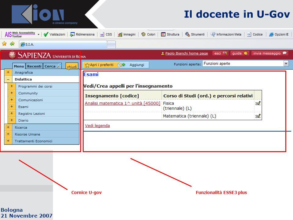Bologna 21 Novembre 2007 Il docente in U-Gov Cornice U-govFunzionalità ESSE3 plus