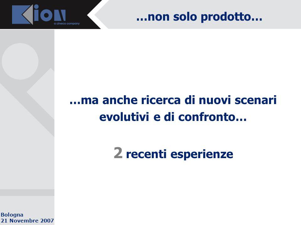 Bologna 21 Novembre 2007 …non solo prodotto… …ma anche ricerca di nuovi scenari evolutivi e di confronto… 2 recenti esperienze