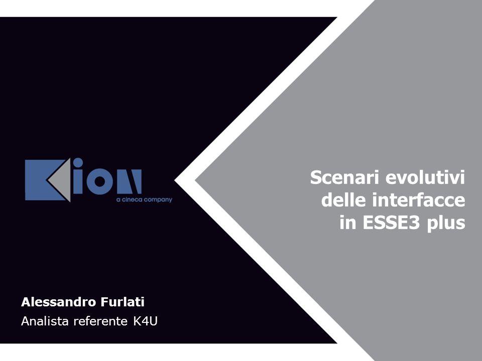 Bologna 21 Novembre 2007 Scenari evolutivi delle interfacce in ESSE3 plus Alessandro Furlati Analista referente K4U