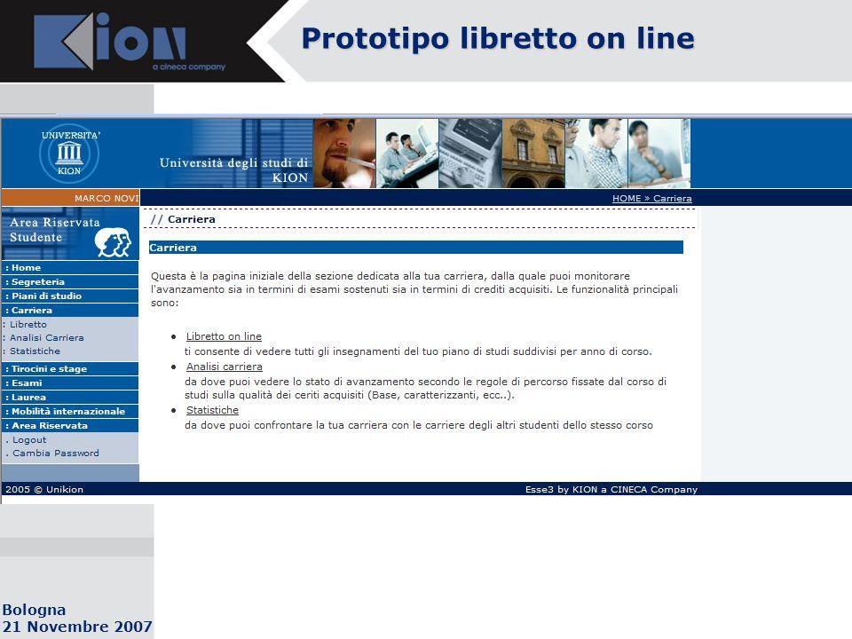 Bologna 21 Novembre 2007 Prototipo libretto on line