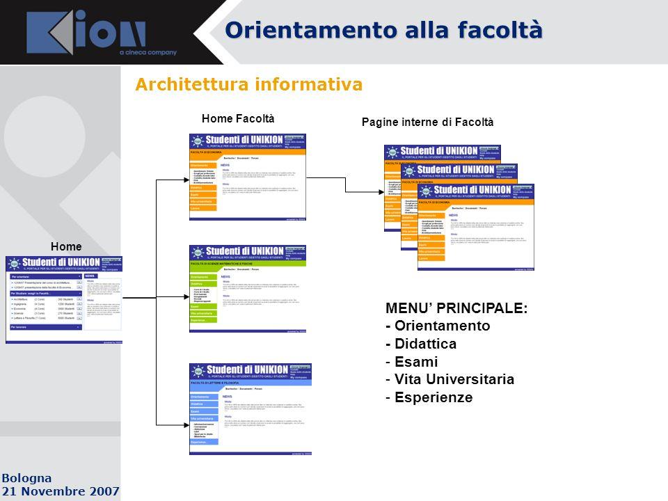 Bologna 21 Novembre 2007 Architettura informativa Orientamento alla facoltà Home Home Facoltà Pagine interne di Facoltà MENU PRINCIPALE: - Orientamento - Didattica - Esami - Vita Universitaria - Esperienze