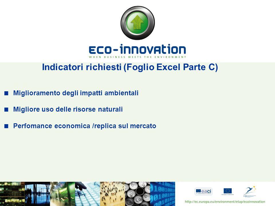 Indicatori richiesti (Foglio Excel Parte C) Miglioramento degli impatti ambientali Migliore uso delle risorse naturali Perfomance economica /replica sul mercato