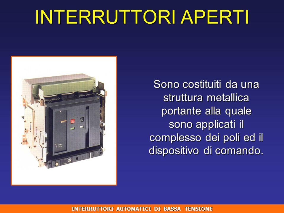 INTERRUTTORI APERTI Sono costituiti da una struttura metallica portante alla quale sono applicati il complesso dei poli ed il dispositivo di comando.