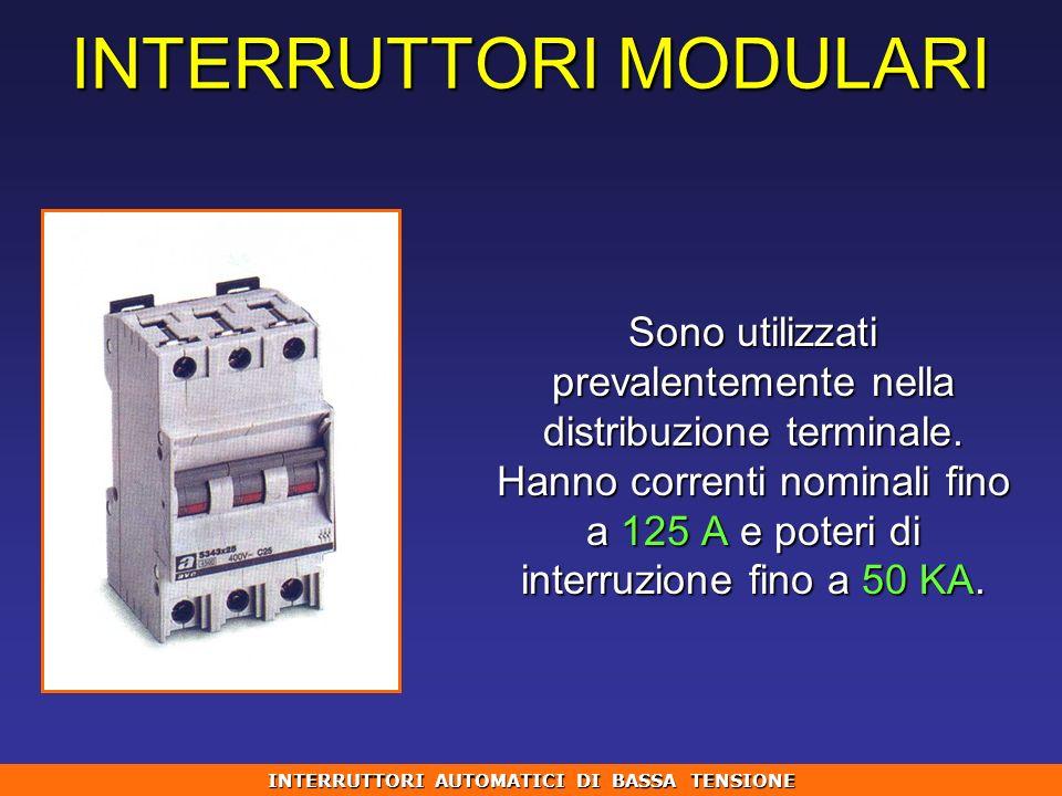 Sono utilizzati prevalentemente nella distribuzione terminale. Hanno correnti nominali fino a 125 A e poteri di interruzione fino a 50 KA. INTERRUTTOR