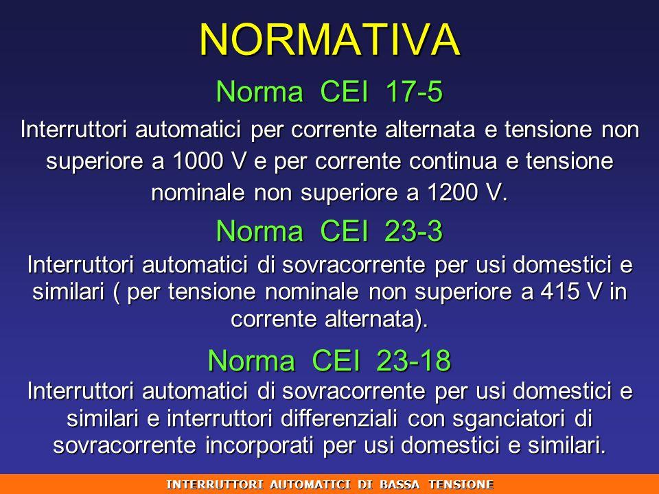 NORMATIVA Norma CEI 17-5 Interruttori automatici per corrente alternata e tensione non superiore a 1000 V e per corrente continua e tensione nominale