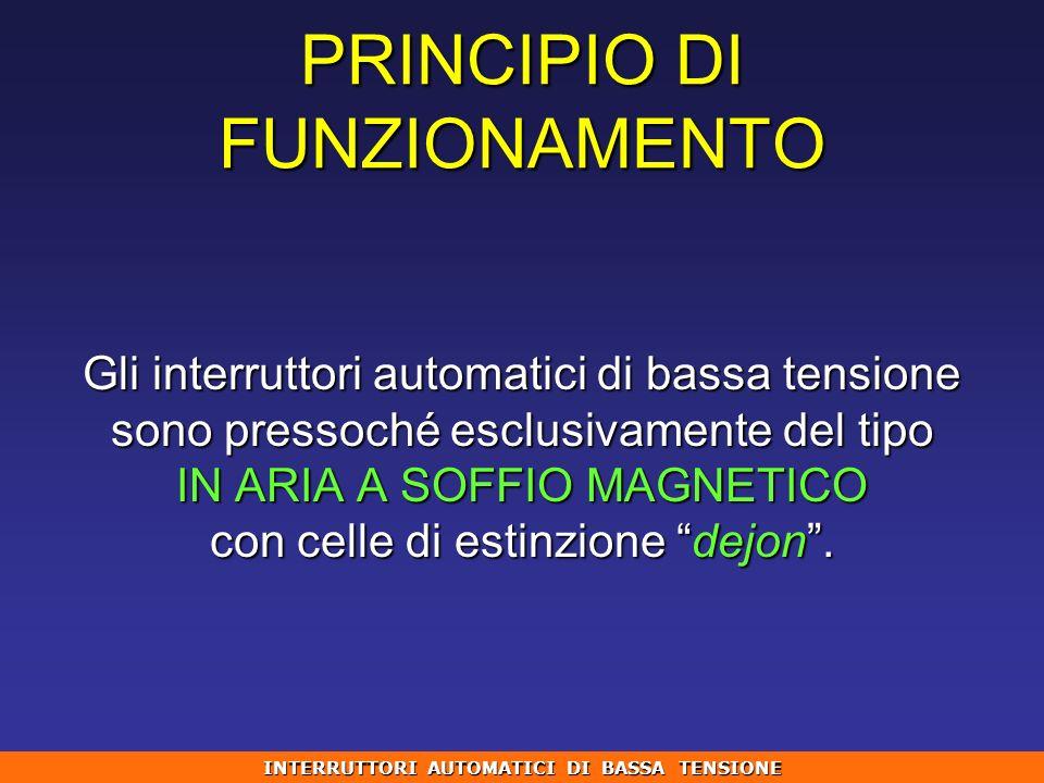 PRINCIPIO DI FUNZIONAMENTO Gli interruttori automatici di bassa tensione sono pressoché esclusivamente del tipo IN ARIA A SOFFIO MAGNETICO con celle d
