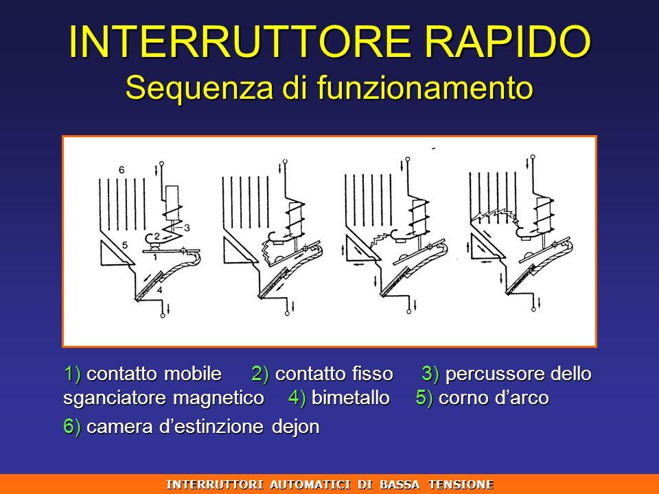 INTERRUTTORE RAPIDO Sequenza di funzionamento 1) contatto mobile 2) contatto fisso 3) percussore dello sganciatore magnetico 4) bimetallo 5) corno dar