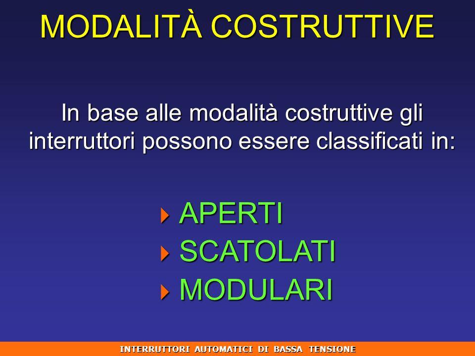 MODALITÀ COSTRUTTIVE In base alle modalità costruttive gli interruttori possono essere classificati in: APERTI APERTI SCATOLATI SCATOLATI MODULARI MOD