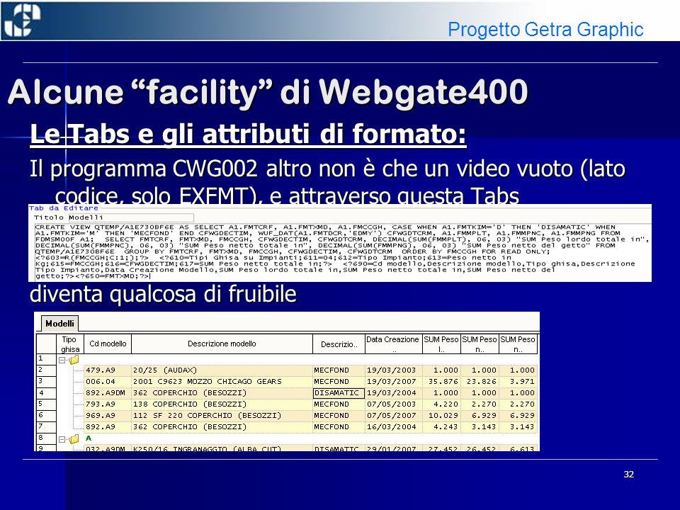 32 Alcune facility di Webgate400 Le Tabs e gli attributi di formato: Il programma CWG002 altro non è che un video vuoto (lato codice, solo EXFMT), e a