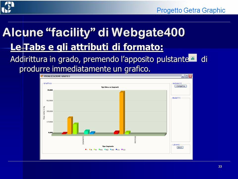 33 Alcune facility di Webgate400 Le Tabs e gli attributi di formato: Addirittura in grado, premendo lapposito pulstante di produrre immediatamente un