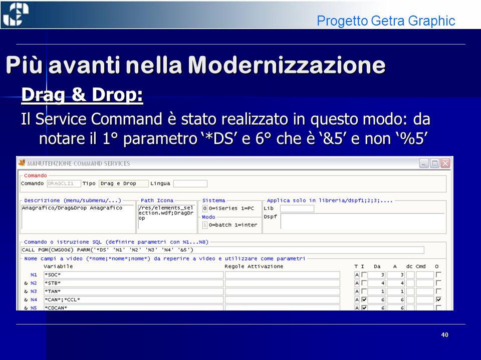 40 Più avanti nella Modernizzazione Drag & Drop: Il Service Command è stato realizzato in questo modo: da notare il 1° parametro *DS e 6° che è &5 e non %5 Progetto Getra Graphic