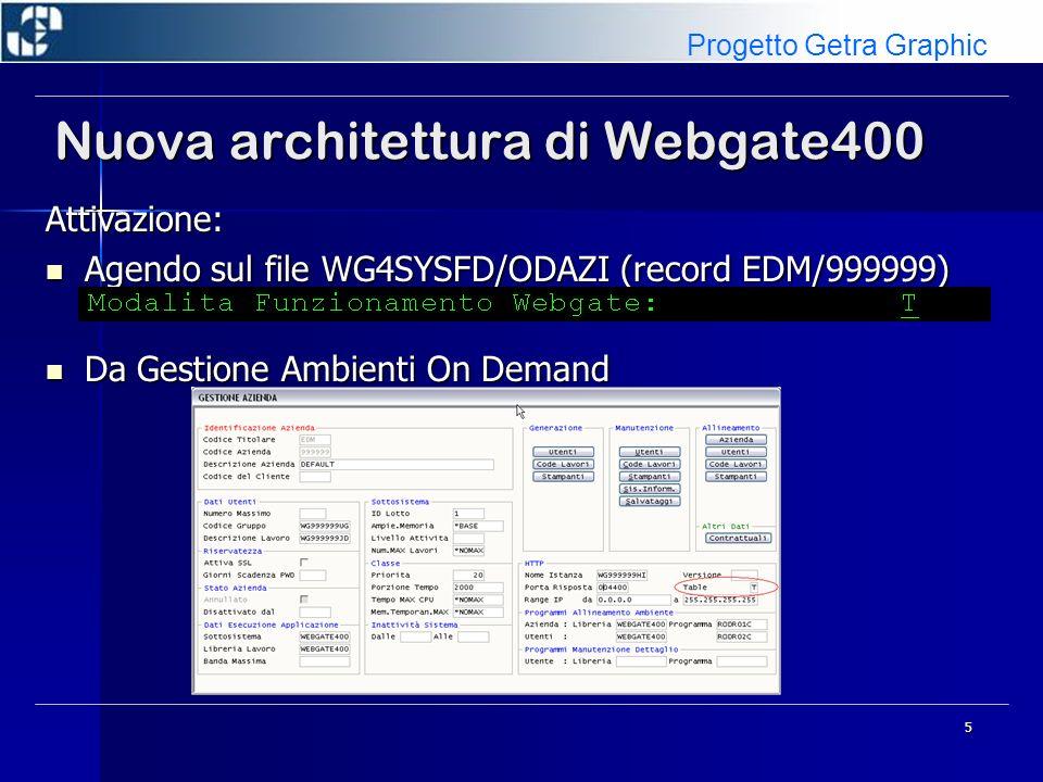 5 Nuova architettura di Webgate400 Attivazione: Agendo sul file WG4SYSFD/ODAZI (record EDM/999999) Agendo sul file WG4SYSFD/ODAZI (record EDM/999999)