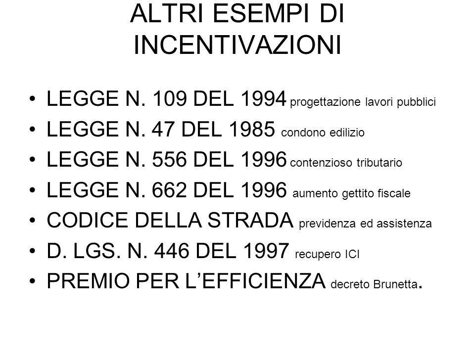 ALTRI ESEMPI DI INCENTIVAZIONI LEGGE N. 109 DEL 1994 progettazione lavori pubblici LEGGE N.