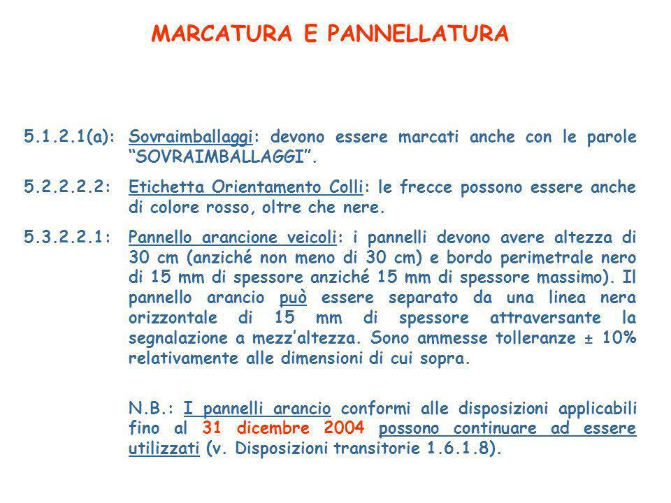 MARCATURA E PANNELLATURA 5.1.2.1(a):Sovraimballaggi: devono essere marcati anche con le parole SOVRAIMBALLAGGI.