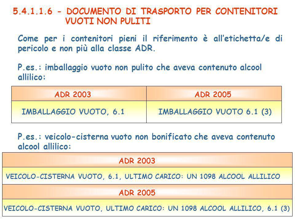 5.4.1.1.6 - DOCUMENTO DI TRASPORTO PER CONTENITORI VUOTI NON PULITI Come per i contenitori pieni il riferimento è alletichetta/e di pericolo e non più alla classe ADR.