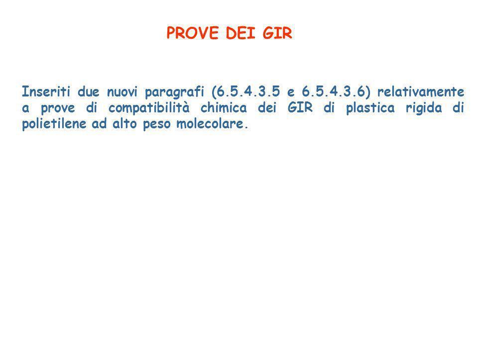 PROVE DEI GIR Inseriti due nuovi paragrafi (6.5.4.3.5 e 6.5.4.3.6) relativamente a prove di compatibilità chimica dei GIR di plastica rigida di polietilene ad alto peso molecolare.