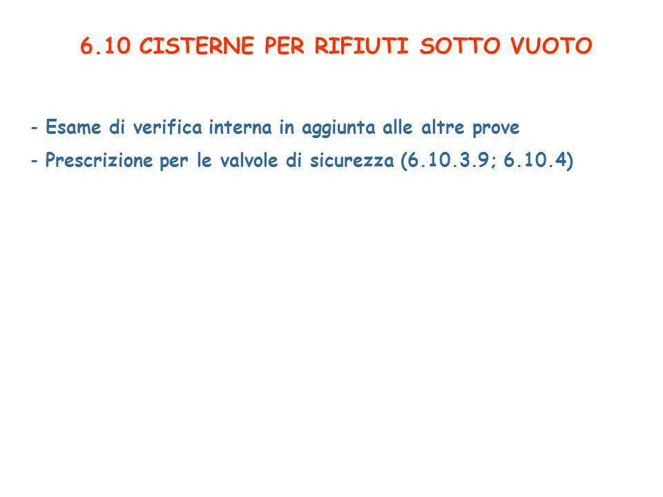 6.10 CISTERNE PER RIFIUTI SOTTO VUOTO - Esame di verifica interna in aggiunta alle altre prove - Prescrizione per le valvole di sicurezza (6.10.3.9; 6.10.4)