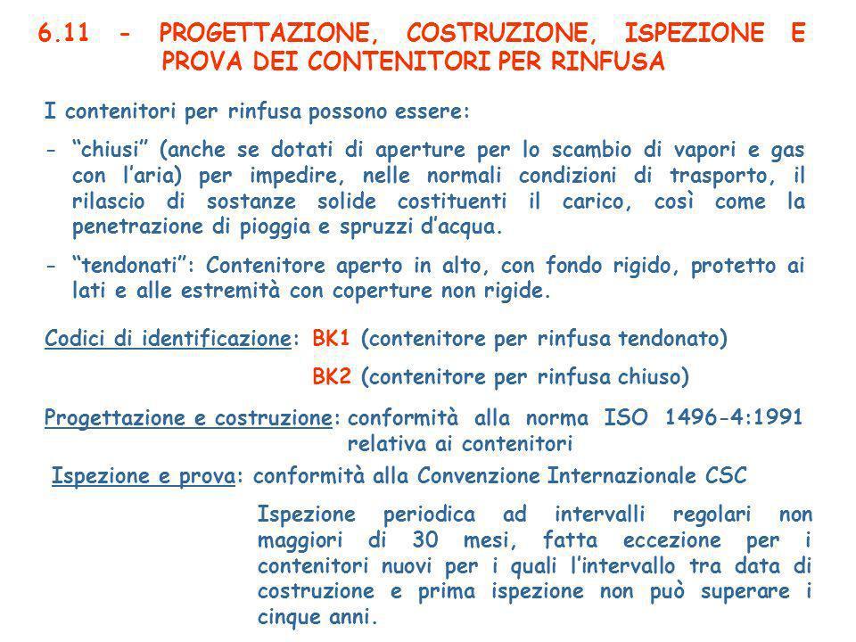 6.11 - PROGETTAZIONE, COSTRUZIONE, ISPEZIONE E PROVA DEI CONTENITORI PER RINFUSA I contenitori per rinfusa possono essere: -chiusi (anche se dotati di aperture per lo scambio di vapori e gas con laria) per impedire, nelle normali condizioni di trasporto, il rilascio di sostanze solide costituenti il carico, così come la penetrazione di pioggia e spruzzi dacqua.