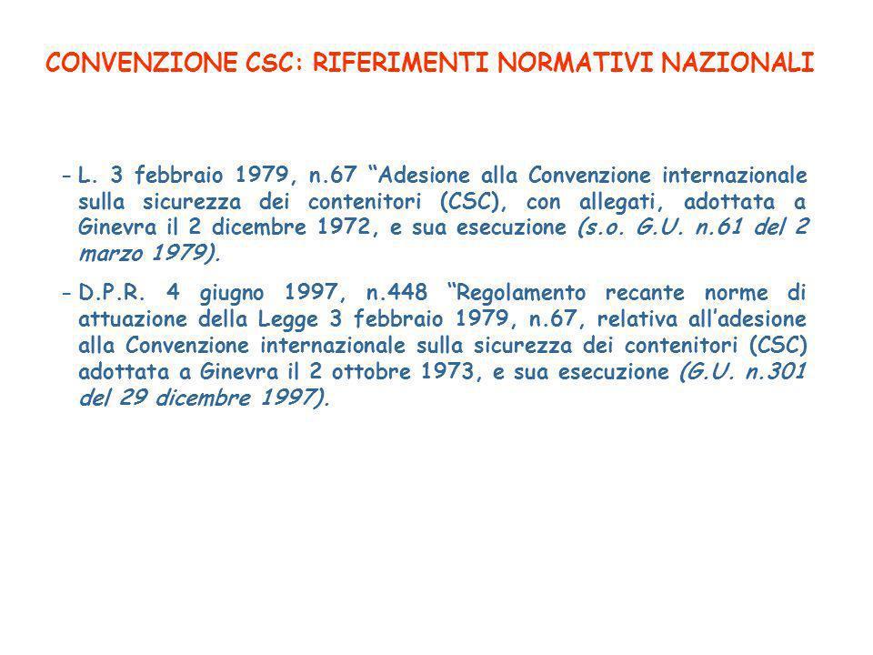 CONVENZIONE CSC: RIFERIMENTI NORMATIVI NAZIONALI -L.