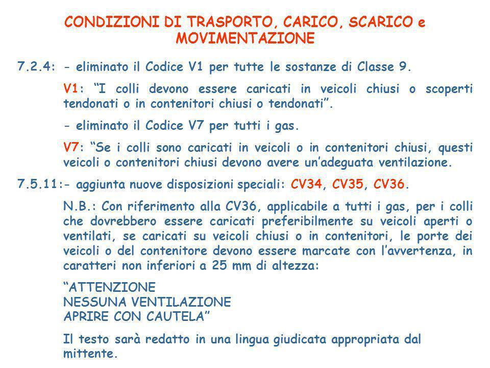 CONDIZIONI DI TRASPORTO, CARICO, SCARICO e MOVIMENTAZIONE 7.2.4:- eliminato il Codice V1 per tutte le sostanze di Classe 9.