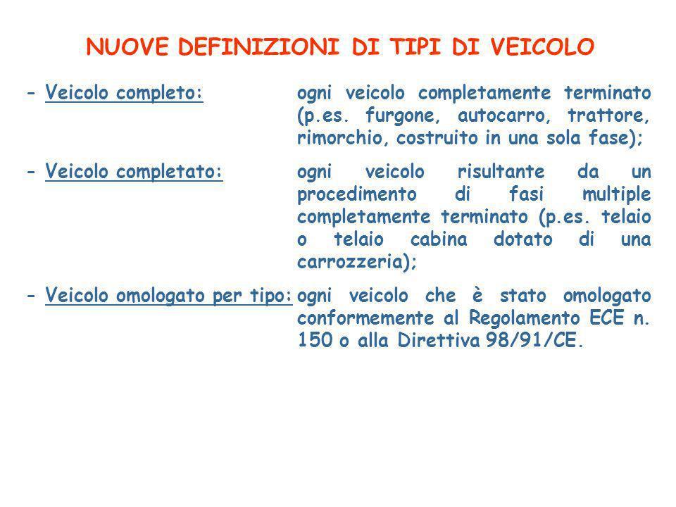 NUOVE DEFINIZIONI DI TIPI DI VEICOLO - Veicolo completo:ogni veicolo completamente terminato (p.es.