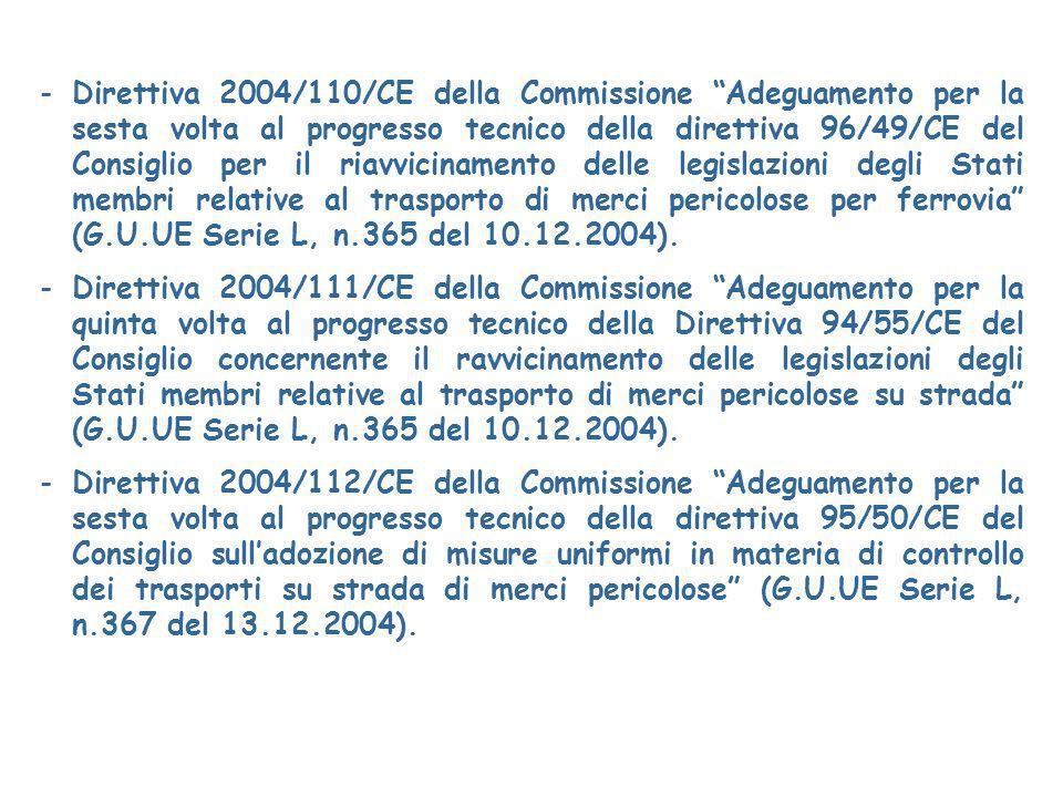 -Direttiva 2004/110/CE della Commissione Adeguamento per la sesta volta al progresso tecnico della direttiva 96/49/CE del Consiglio per il riavvicinamento delle legislazioni degli Stati membri relative al trasporto di merci pericolose per ferrovia (G.U.UE Serie L, n.365 del 10.12.2004).