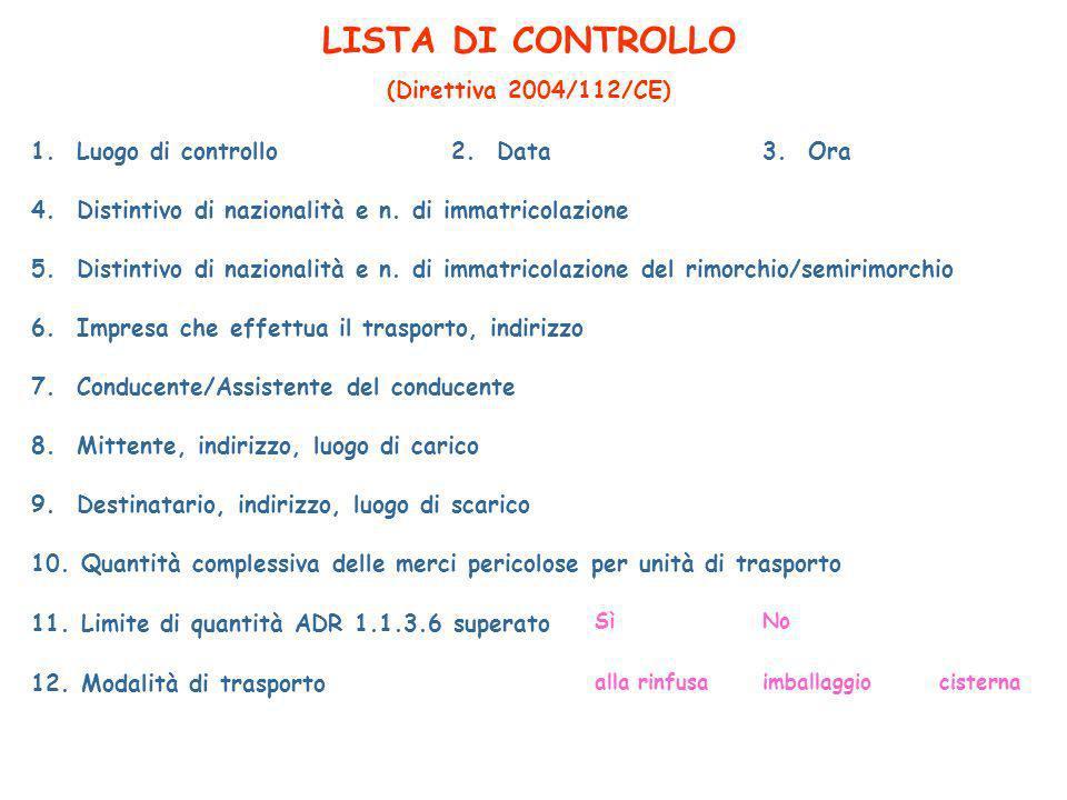 LISTA DI CONTROLLO (Direttiva 2004/112/CE) 1.Luogo di controllo2.