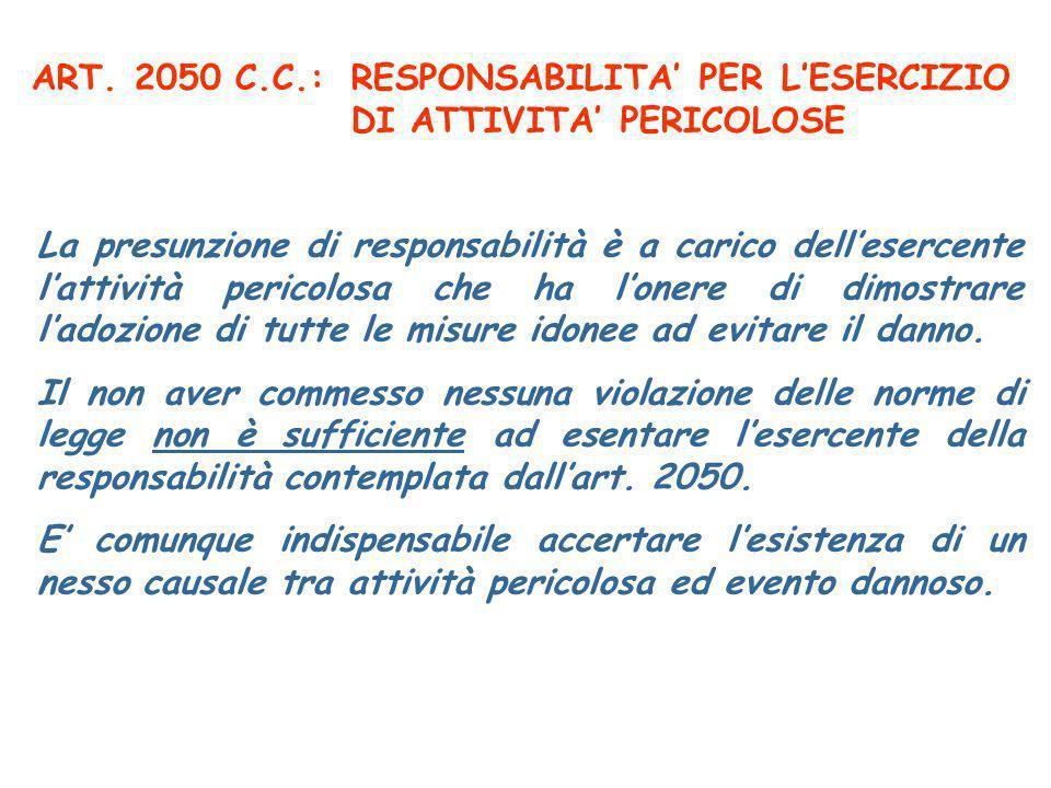ART. 2050 C.C.:RESPONSABILITA PER LESERCIZIO DI ATTIVITA PERICOLOSE La presunzione di responsabilità è a carico dellesercente lattività pericolosa che
